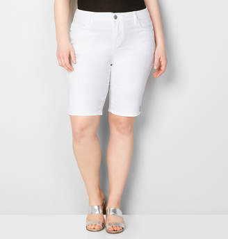 Avenue Slit Hem Denim Bermuda Short in White