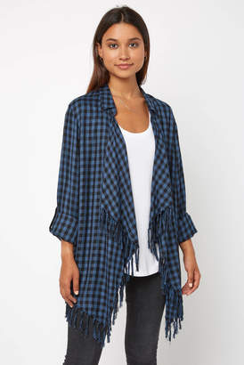 Willow & Clay Blue Plaid Fringe Open Front Jacket
