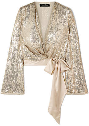 Jenny Packham Satin-trimmed Sequined Silk-chiffon Wrap Top - Gold