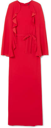 Goen J - Cape-back Ruffled Crepe Gown - Red