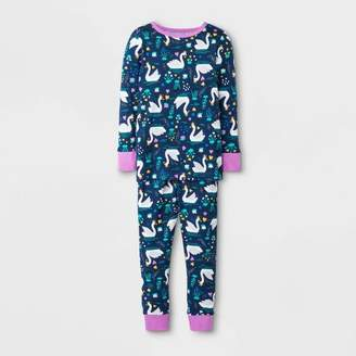 Cat & Jack Toddler Girls' Swan Pajama Set - Cat & JackTM Blue