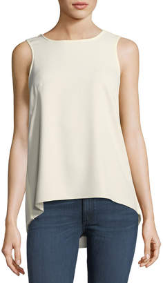 Rag & Bone Harper Round-Neck Sleeveless Crepe Top w/ Back Vent