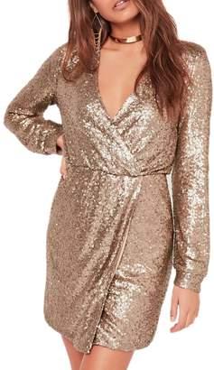 Yacun Women Long Sleeve Faux Wrap Sequin Bodycon Evening Party Dress L
