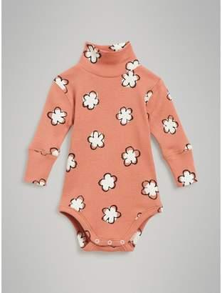 Burberry Flower Print Cotton Turtleneck Bodysuit , Size: 6M