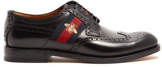 Gucci Web-panelled leather brogues