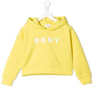 DKNY logo cropped hoodie