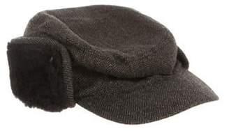 Neiman Marcus Merino Wool Herringbone Hat w/ Tags Brown Merino Wool Herringbone Hat w/ Tags