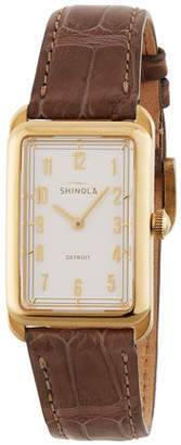Shinola The Muldowney 24mm Alligator Strap Watch, Brown/Cream