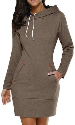 BIUBIU BUIBIU Women's Long Sleeve Cotton Slim Fit Midi Hoodie Dress with Pocket 5XL