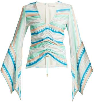 Peter Pilotto Striped bell-sleeve jersey top
