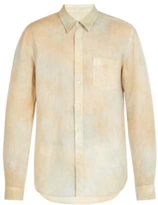 120% Lino Hand Dyed Linen Shirt - Mens - Yellow Multi