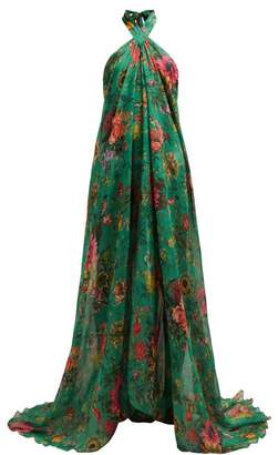 Adriana Iglesias - Floral Print Halterneck Silk Chiffon Gown - Womens - Green Multi