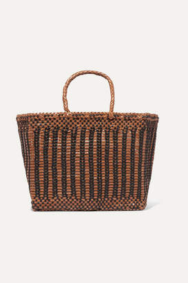 Dragon Optical Diffusion - Cannage Small Two-tone Woven Leather Tote - Tan