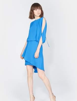 Halston Cape Sleeve Drape Dress
