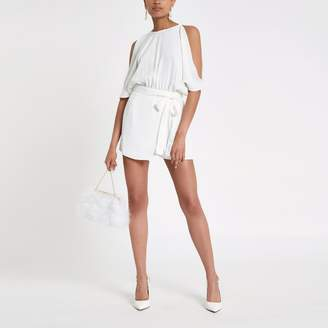 River Island Womens White cold shoulder wrap playsuit