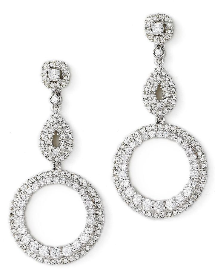 Nadri double-circle crystal earrings