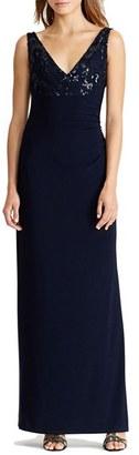 Women's Lauren Ralph Lauren Sequin & Jersey Cowl Back Gown $184 thestylecure.com