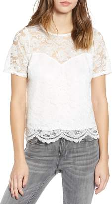 Leith Scalloped Lace Tee