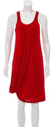 Jean Paul Gaultier Sleeveless Pleated Midi Dress w/ Tags Red Sleeveless Pleated Midi Dress w/ Tags