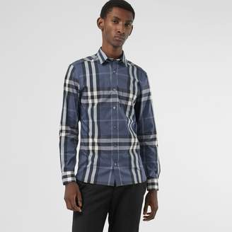 Burberry Check Stretch Cotton Shirt , Size: XXXL, Blue