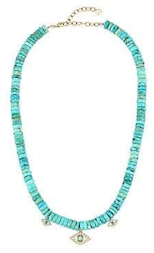 Sydney Evan Women's Diamond, Turquoise & 14K Yellow Gold Beaded Evil Eye Necklace