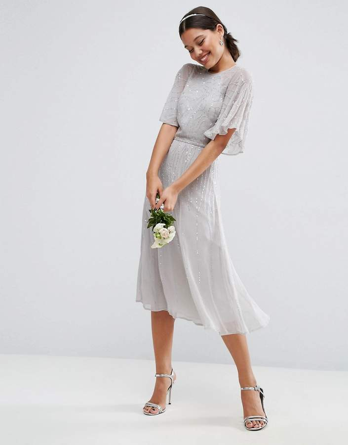 Asos ASOS WEDDING Embellished Flutter Sleeve Midi Dress