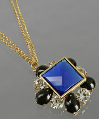 Rachel Leigh cobalt 'Diamonte Edge' pendant necklace