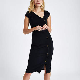 River Island Black button short sleeve midi bodycon dress