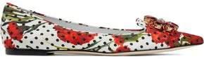 Dolce & Gabbana Crystal-Embellished Printed Jacquard Point-Toe Flats