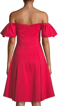 Halston Flounce-Sleeve Off-the-Shoulder Cocktail Dress