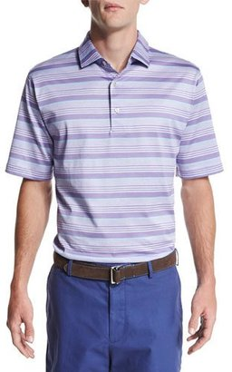 Peter Millar Glass-Stripe Short-Sleeve Polo Shirt, Purple $95 thestylecure.com