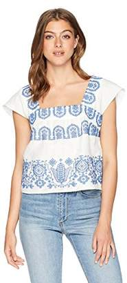 Milly Women's Mykonos Embroidered Linen Cropped Flutter Sleeve Top