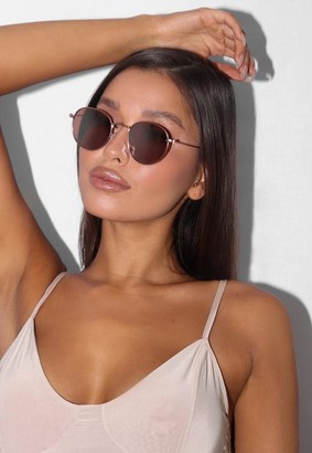 Missguided Gold Metal Round Sunglasses