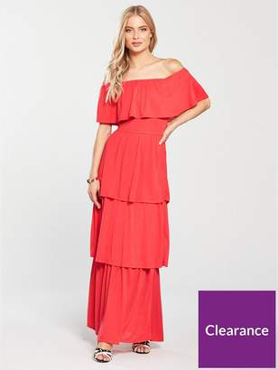Very Tiered Jersey Maxi Dress - Coral