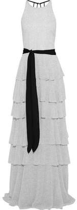 Halston Tiered Printed Crepe De Chine Gown