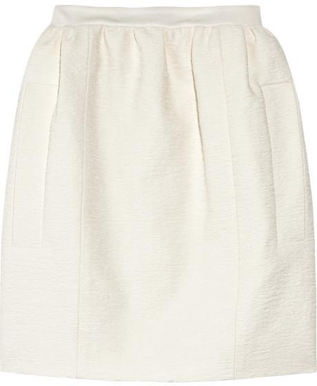 Carven Bouclé cotton-crepe skirt