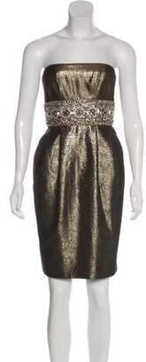 Marchesa Embellished Metallic Dress