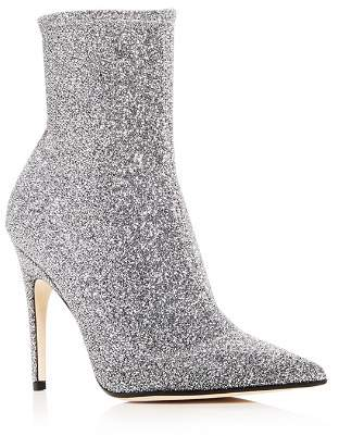 Sergio Rossi Women's Glitter Knit Pointed Toe Booties