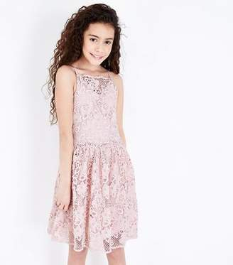 New Look Teens Pale Pink Crochet Lace Skater Dress