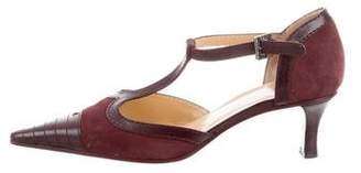 Chanel T-Strap Leather-Trimmed Pumps