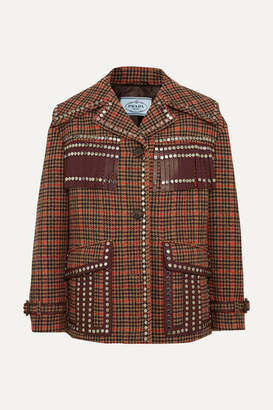 Prada Leather-trimmed Studded Checked Wool-blend Tweed Jacket - Camel