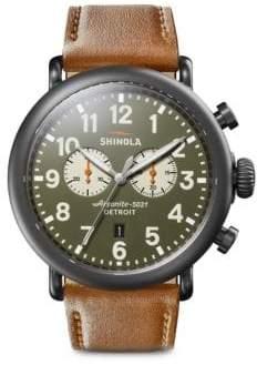 Shinola Runwell Chronograph Leather Strap Watch - Green Brown