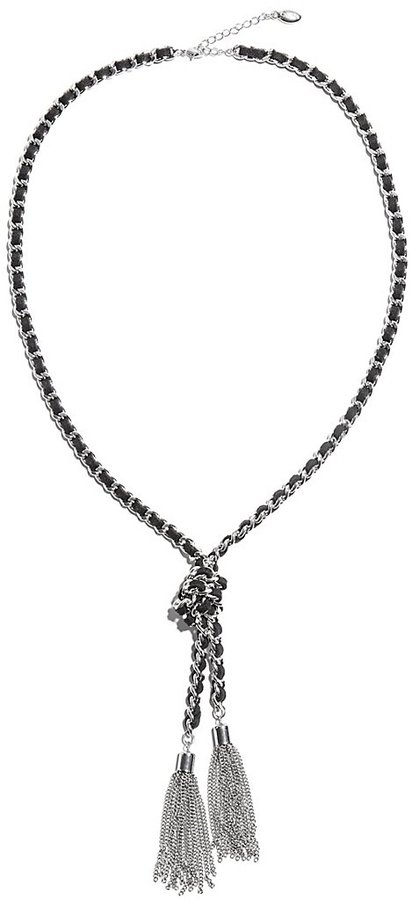 GUESS Braided Knot Tassel Necklace