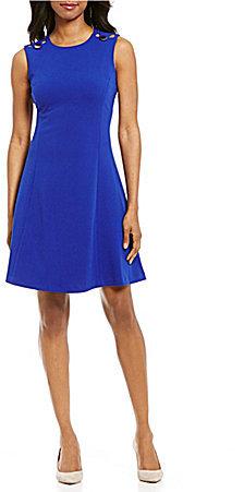 Calvin KleinCalvin Klein Button Shoulder Fit and Flare Dress
