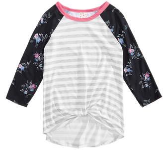 Belle Du Jour Big Girls Mixed Media Twist-Front Raglan T-Shirt