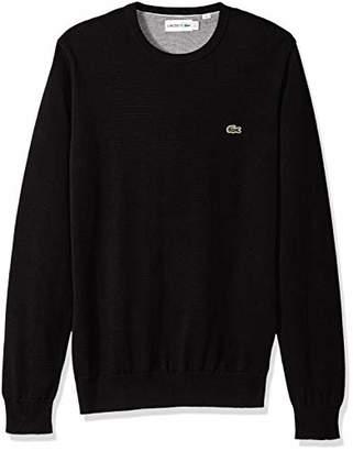 Lacoste Men's Long Sleeve Half Moon Crew Neck Jersey Sweater Flour/Black