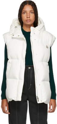 Moncler White Down Cheveche Hooded Vest