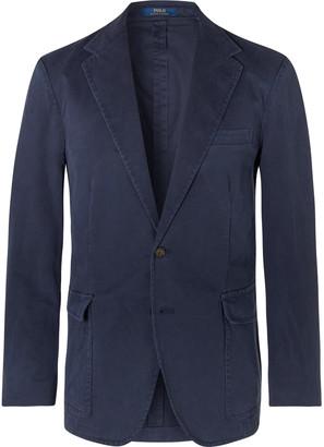 Polo Ralph Lauren Navy Slim-Fit Unstructured Brushed Cotton-Blend Twill Blazer