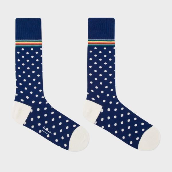 Men's Navy Polka Dot Socks With Multi-Stripe Trim 2