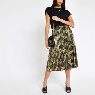 d09aebe86 River Island Womens Khaki camo print pleated skirt